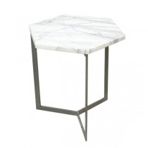 TABLE-END-MARBLE HEXAGON-METAL