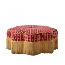 OTTOMAN-RED/GOLD STAR W/FRINGE