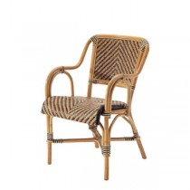 CHAIR-ARM-NAT BAMBOO/BLK WOVEN