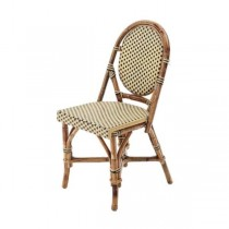 CHAIR-Bistro Oval Back Side Chair/Black & Tan