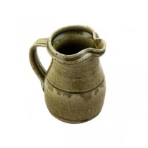 "PITCHER-6""-POTTERY-GREEN-W/HDL"