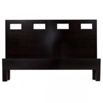 Dark Platform Bed-4 Sq Cutouts-Queen