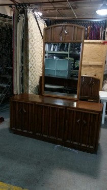 Medium Walnut Dresser W/Mirror