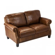 Leather Love Seat-W/Nail Heads