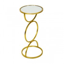 Gold Side Table/Circle W/Glass