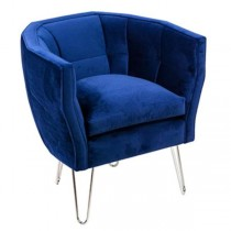 Blue Velvet Armchair/Hairpin