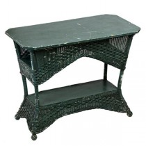 Forest Grn Wicker Table/Bench