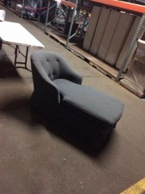 Grey Flannel Chaise/Tuft Back