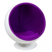 White Ball Chair/Purple