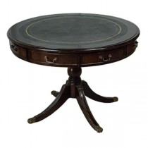 GAME TABLE-Round W/Leather Inset