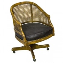 CHAIR-Arm/Bamboo-Cane Frame/Black Seat