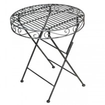 Table-Outdoor Cafe Table-Silver Metal Scroll