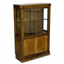 DISPLAY CASE-Walnut-Glass Shelves-Bottom Storage
