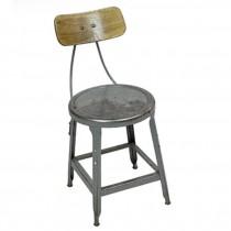 CHAIR-Vintage Metal Industrial Side Chair-Distressed Gray