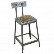STOOL-Vintage Metal Industrial Shop Stool W/Galvanized Seat Back