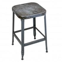 STOOL-Backless Vintage Metal Industrial Shop Stool/Distressed Gray
