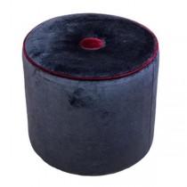 OTTOMAN-Black Velvet W/Red Trim & Button