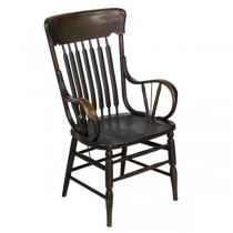 ARM CHAIR-Stained Oak Flat Spindle Back