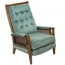 CHAIR-Arm-Blue Tufted Back/Wood Frame