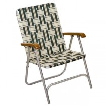 LAWN CHAIR-White & Green Plaid W/Silver Frame & Wood Arm Rests