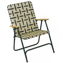 LAWN CHAIR- Green & White Plaid W/Green Frame & Wood Arm Rests