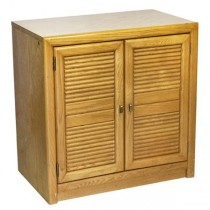 Cabinet-Small Blonde Wood Dresser W/Slated Doors