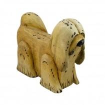 SCUPLTURE-Carved Wooden Tan Dog