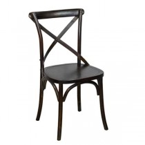 CHAIR-Cross Back Bistro Chair/Dark Brown