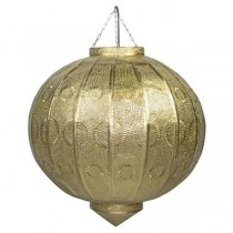SHADE-Hanging Moroccan Gold Ball W/Pressed Metal Design