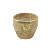 FLOWER POT-Terracotta with Gold Leaf Rim & Gold Leaf Grape Bunch