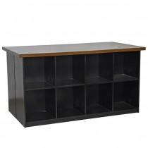 CONSOLE-Black Office Storage Cubbies W/Table Top