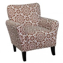 CLUB CHAIR-Brick & Cream Pattern Upholstry W/Wood Leg