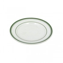 PLATE-Diner Salad Plate White W/Green stripes