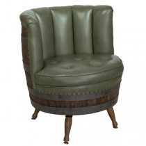 BARREL CHAIR-Green Leather Chanel Back Tufted