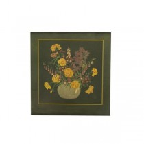 PLAQUE-Golden Florals in Vase W/Loden Green Background