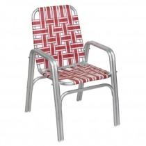 BEACH CHAIR-Aluminum Frame W/Red & White Nylon Webbing