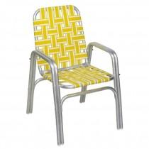 BEACH CHAIR-Aluminum Frame W/Yellow & White Nylon Webbing