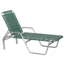 BEACH LOUNGE CHAIR-Aluminum Frame W/Green & Black Nylon Webbing