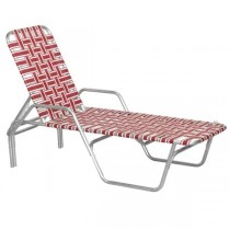 BEACH LOUNGE CHAIR-Aluminum Frame W/Red & White Nylon Webbing
