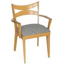 ARM CHAIR-Dining/Clear Maple Frame W/Uphostered Seat