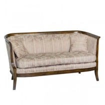 SETTEE-Vintage Burled Wood Frame W/Striped Floral Fabric