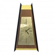 CLOCK-Trangular Wall Clock Brass & Wood