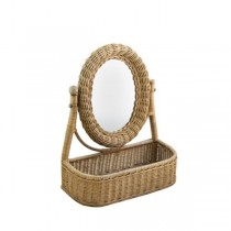 MIRROR-Wicker Vanity Mirror W/Basket Base