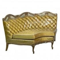 CORNER CHAISE-Vintage Gold Tufted Back W/Fruitwood Frame