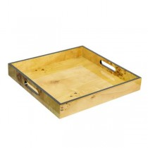 TRAY-Faux Burled Wood Square W/Edge & Cutout Handles
