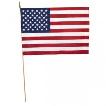 AMERICAN FLAG-Hand Held on Wooden Pole
