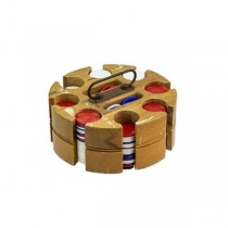 POKER CHIPS-Vintage W/Wooden Lazy Susan Caddy