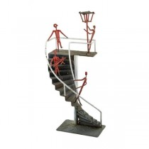 SCULPTURE-Grey Spiral Stairs w/Red People