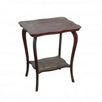 SIDE TABLE-Scalloped Rectangular Mahogany w/Shelf at Bottom