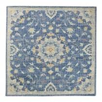 Rug (6'SQ) Handmade Navy/Multi Wool Floral Rug